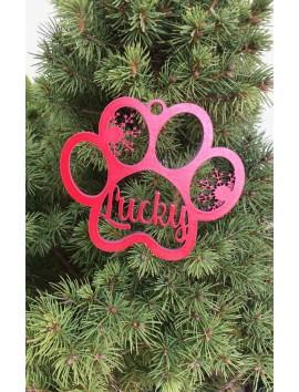 Décoration d'arbre de Noël - Patte de chien avec nom| Beau Cadeaux
