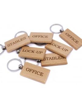 Porte-clés en bois rectangulaire gravé